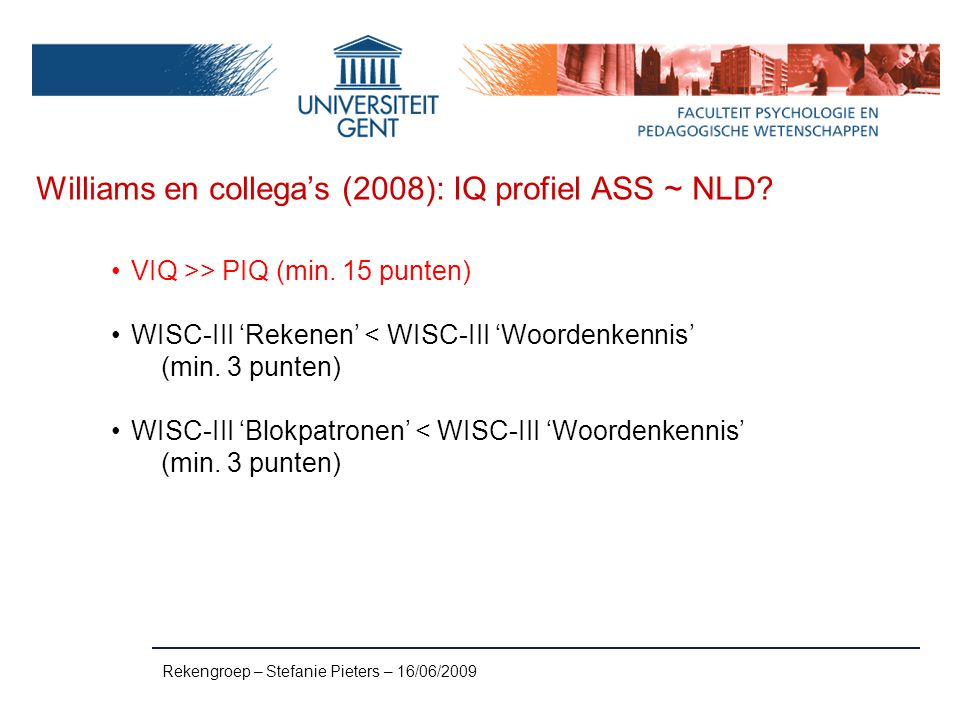 Williams en collega's (2008): IQ profiel ASS ~ NLD