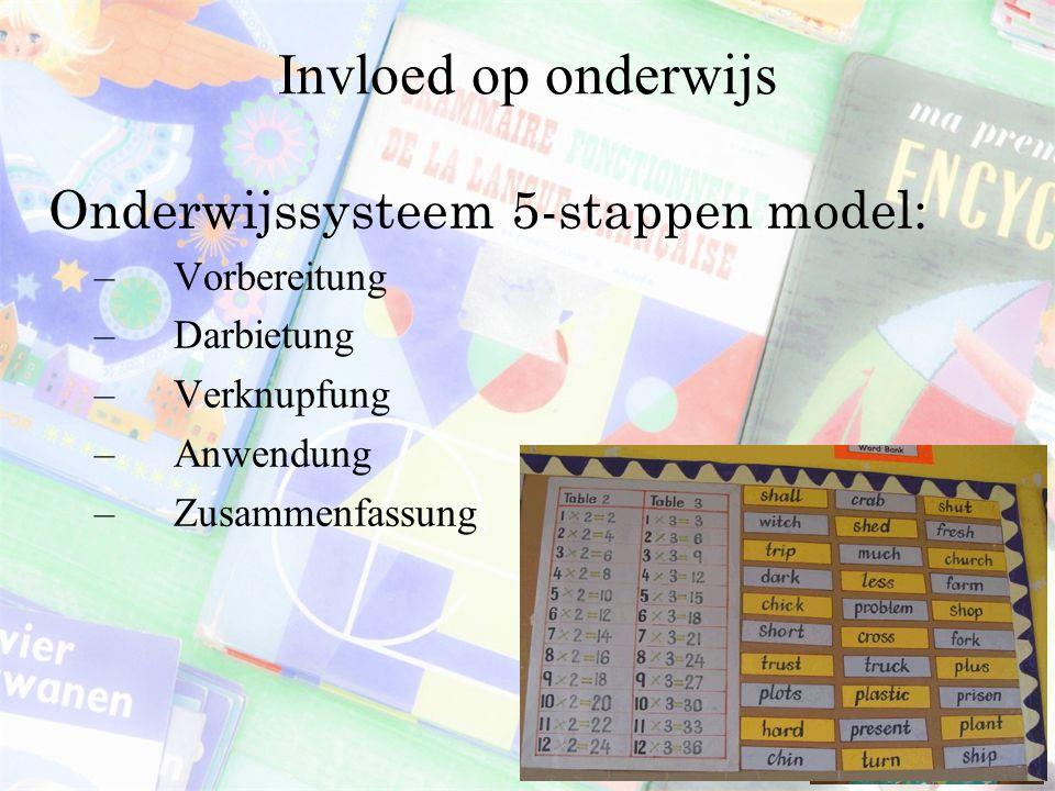 Invloed op onderwijs Onderwijssysteem 5-stappen model: Vorbereitung