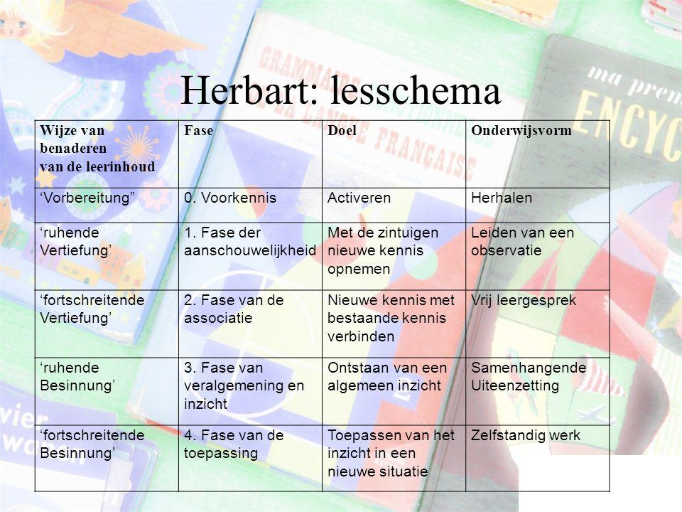 Herbart: lesschema Wijze van benaderen van de leerinhoud Fase Doel