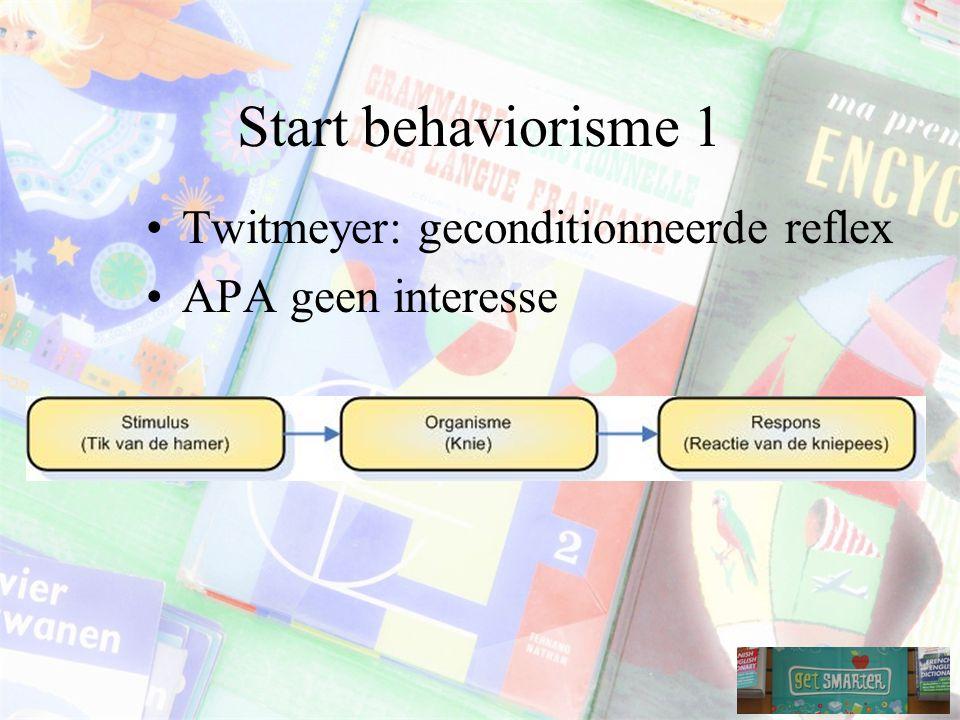 Start behaviorisme 1 Twitmeyer: geconditionneerde reflex