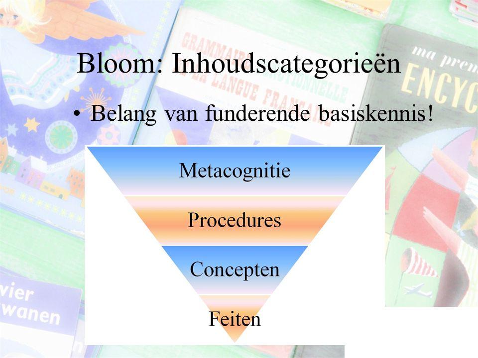 Bloom: Inhoudscategorieën