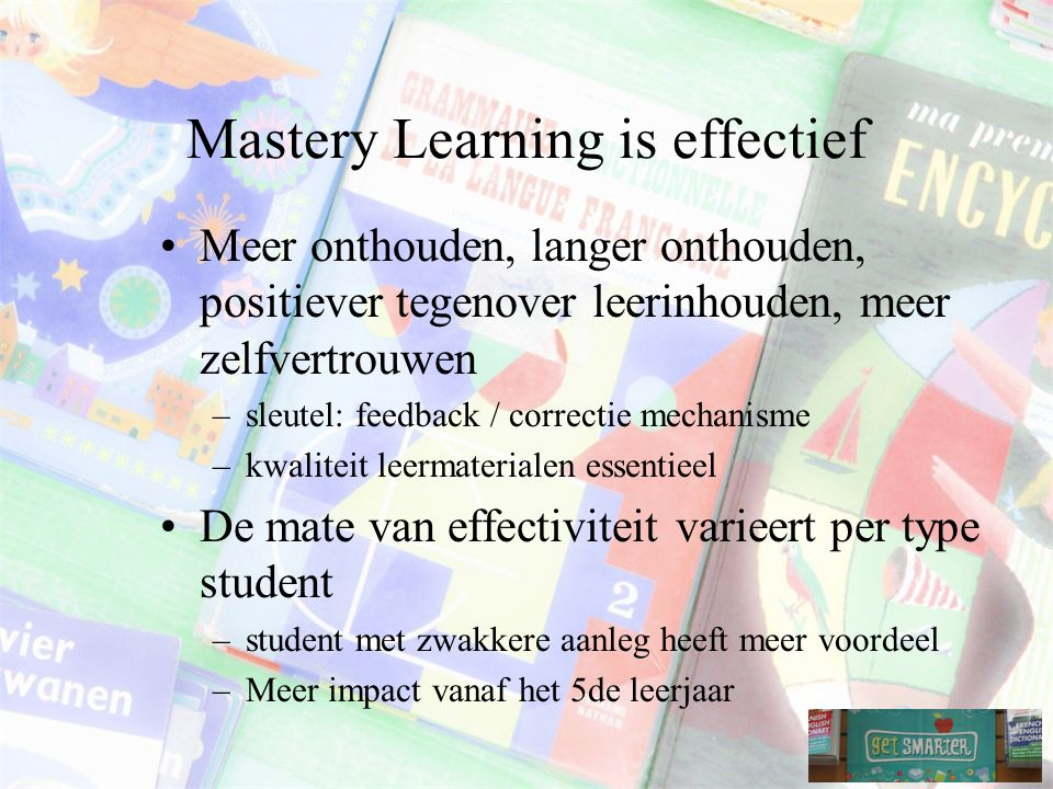 Mastery Learning is effectief
