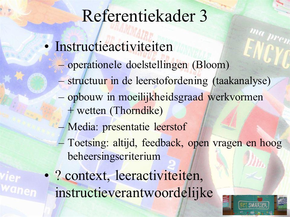 Referentiekader 3 Instructieactiviteiten