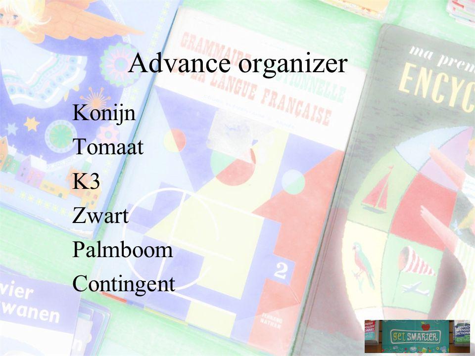 Advance organizer Konijn Tomaat K3 Zwart Palmboom Contingent