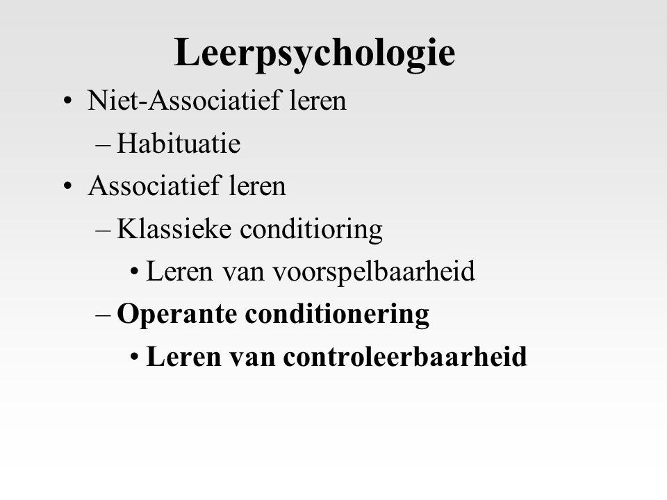 Leerpsychologie Niet-Associatief leren Habituatie Associatief leren