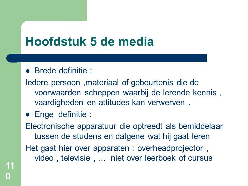 Hoofdstuk 5 de media Brede definitie :