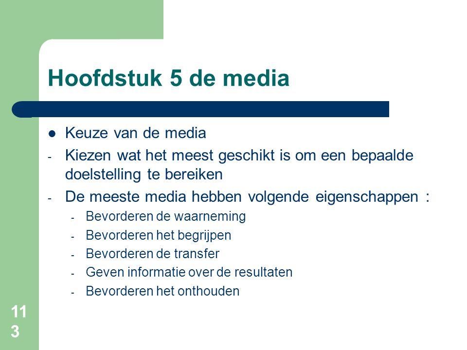 Hoofdstuk 5 de media Keuze van de media