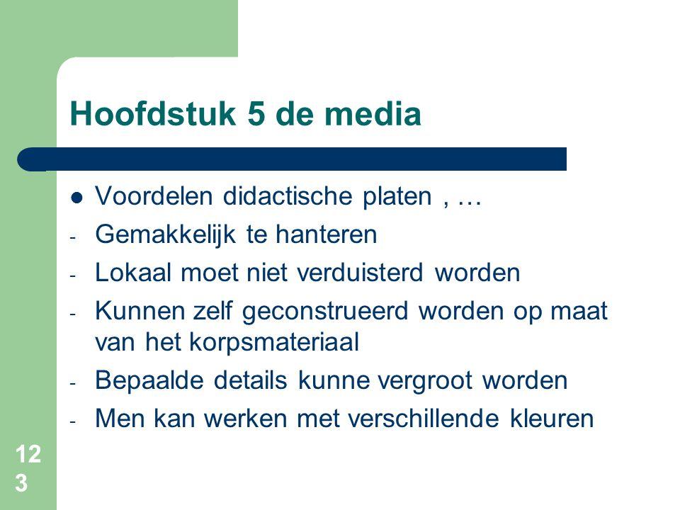 Hoofdstuk 5 de media Voordelen didactische platen , …