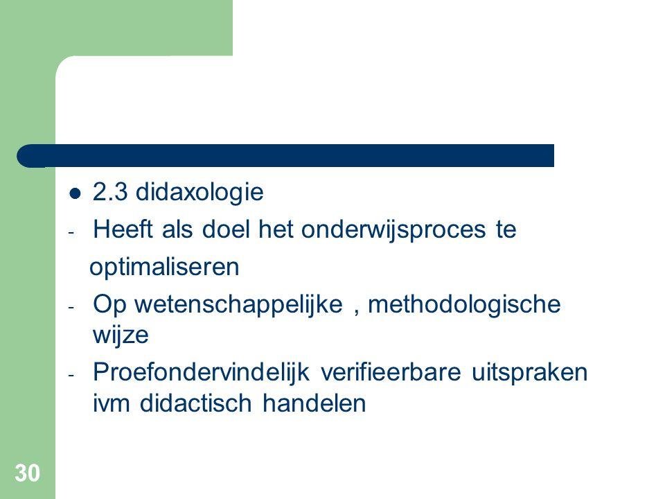 2.3 didaxologie Heeft als doel het onderwijsproces te. optimaliseren. Op wetenschappelijke , methodologische wijze.