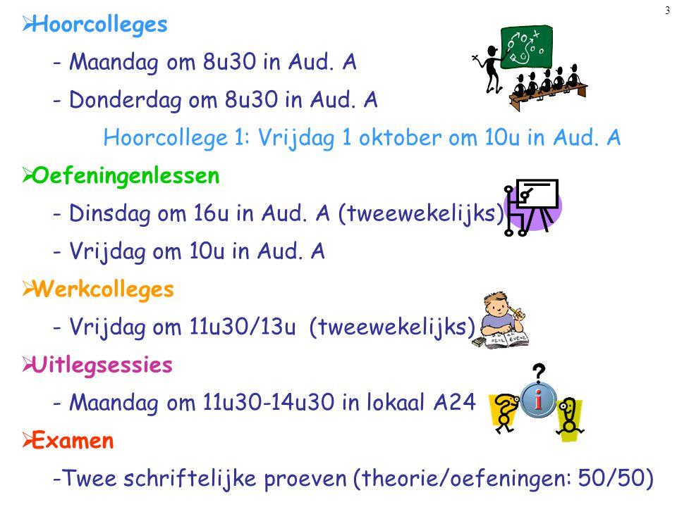 Hoorcollege 1: Vrijdag 1 oktober om 10u in Aud. A
