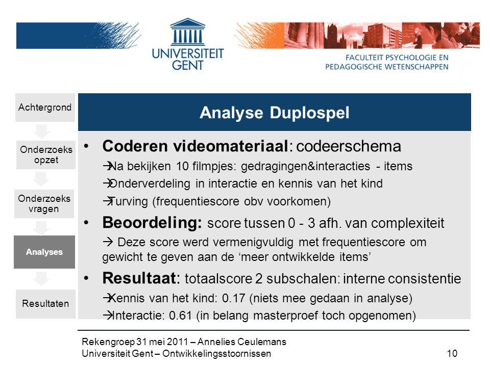 Analyse Duplospel Coderen videomateriaal: codeerschema