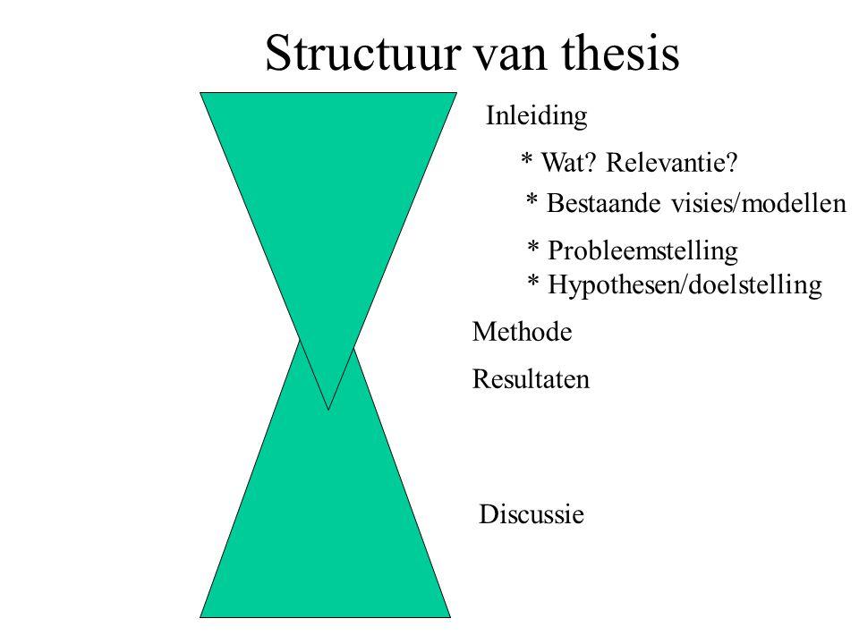 Structuur van thesis Inleiding * Wat Relevantie