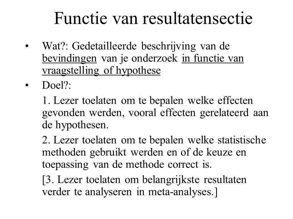 Functie van resultatensectie