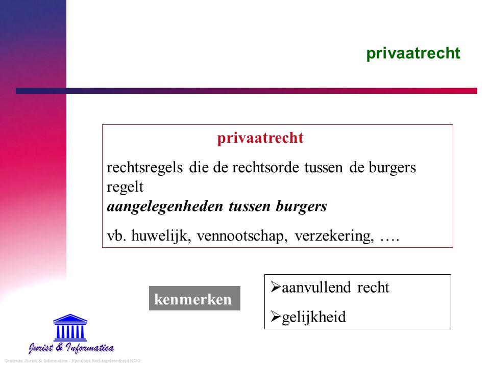 privaatrecht privaatrecht. rechtsregels die de rechtsorde tussen de burgers regelt aangelegenheden tussen burgers.