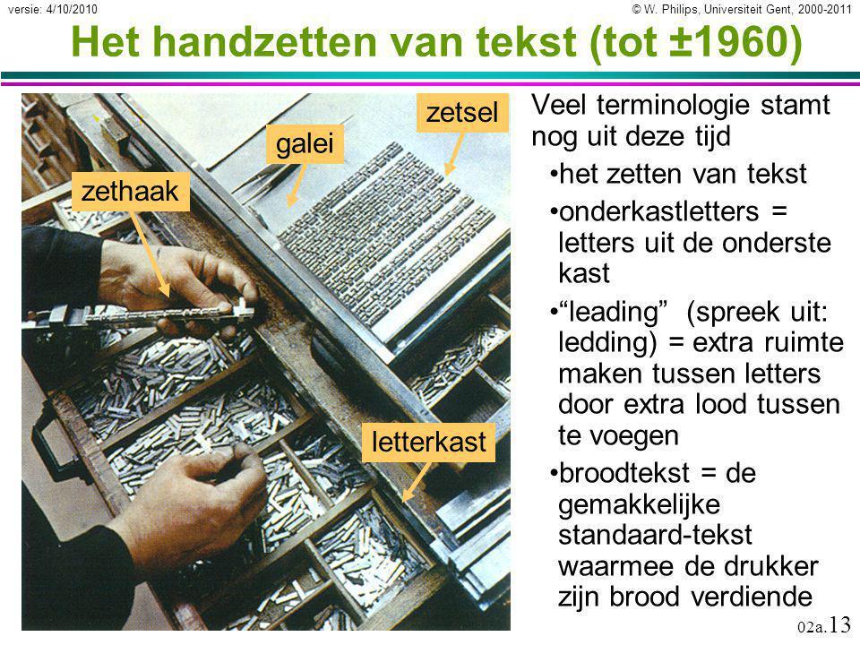Het handzetten van tekst (tot ±1960)