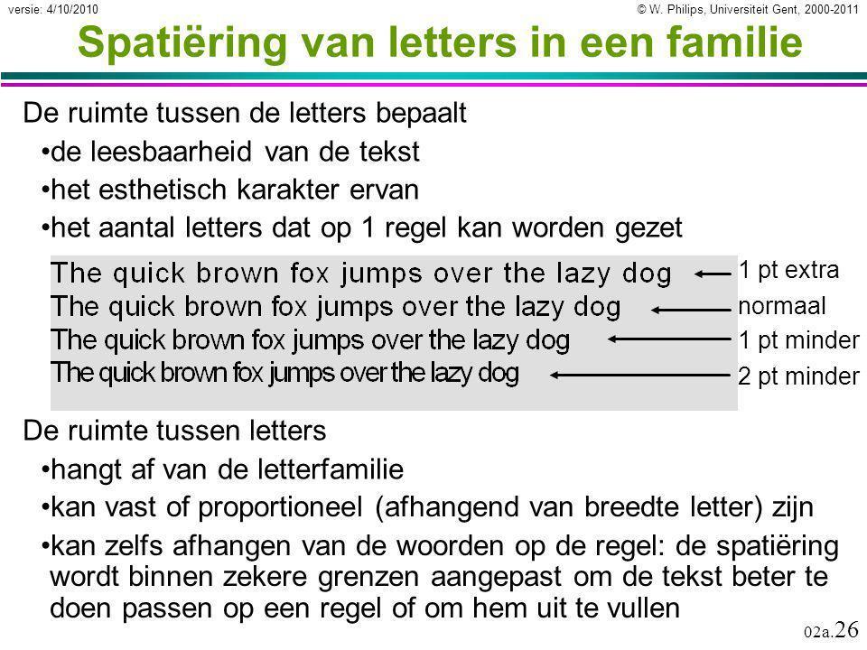 Spatiëring van letters in een familie