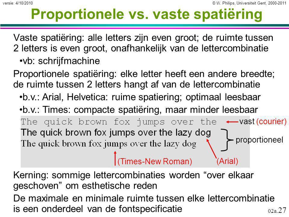 Proportionele vs. vaste spatiëring