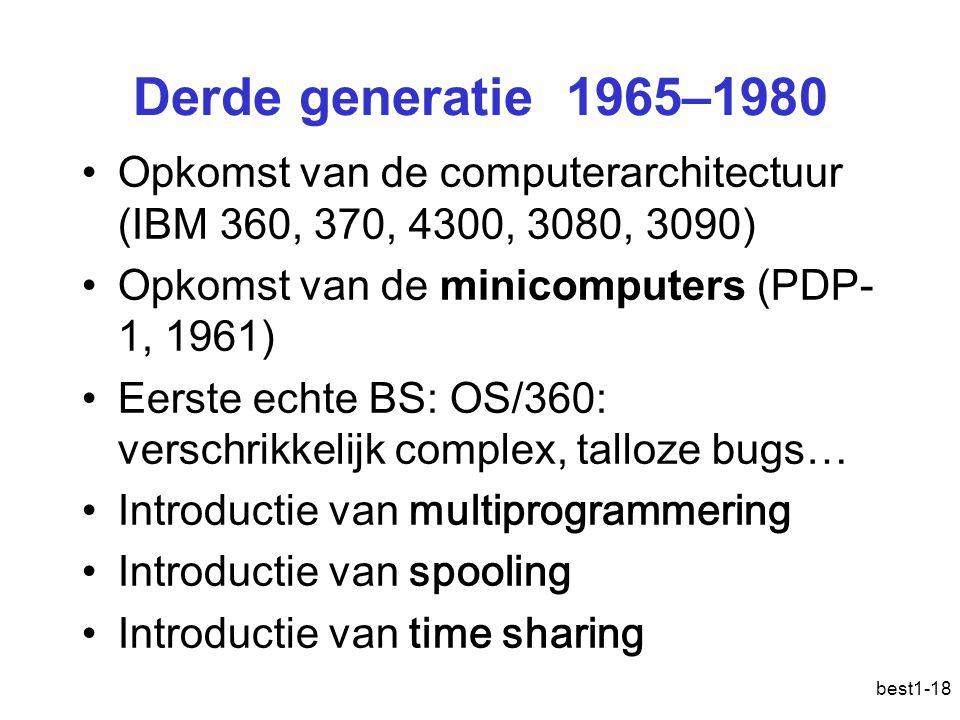 Derde generatie 1965–1980 Opkomst van de computerarchitectuur (IBM 360, 370, 4300, 3080, 3090) Opkomst van de minicomputers (PDP-1, 1961)