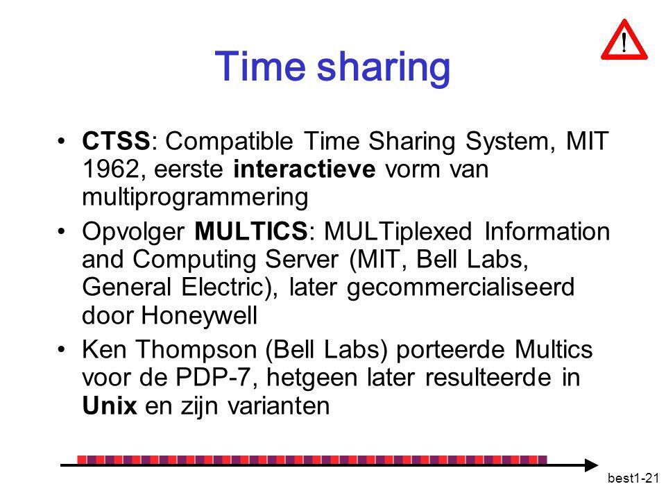 Time sharing CTSS: Compatible Time Sharing System, MIT 1962, eerste interactieve vorm van multiprogrammering.