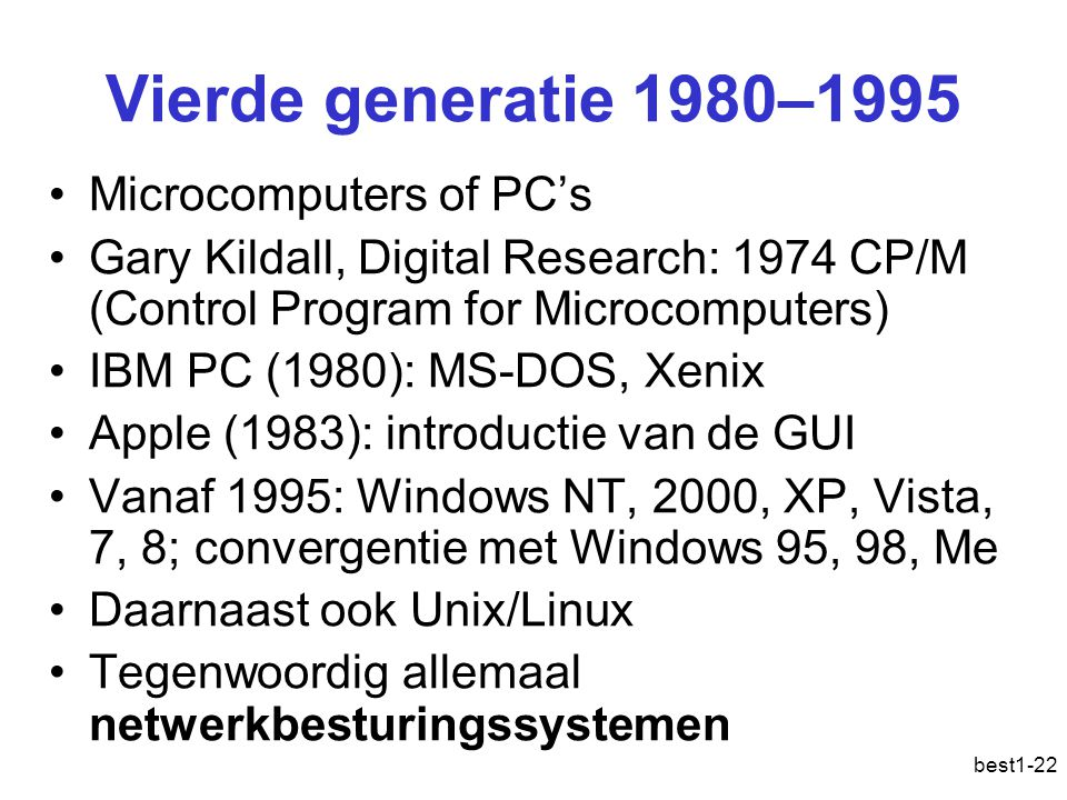 Vierde generatie 1980–1995 Microcomputers of PC's