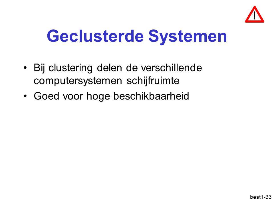 Geclusterde Systemen Bij clustering delen de verschillende computersystemen schijfruimte. Goed voor hoge beschikbaarheid.