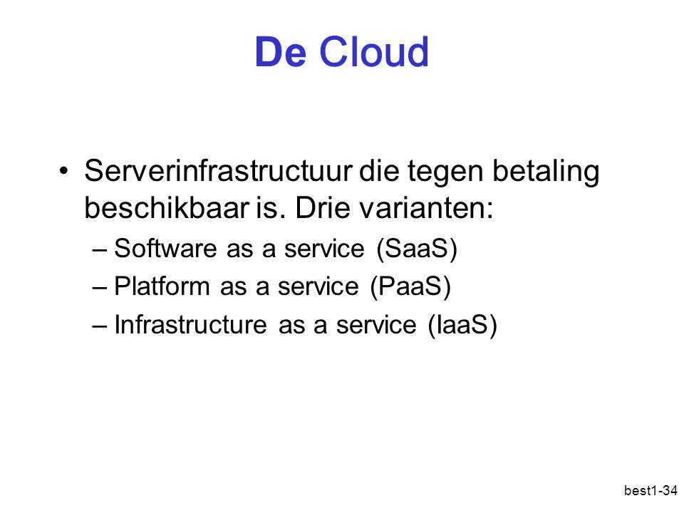 De Cloud Serverinfrastructuur die tegen betaling beschikbaar is. Drie varianten: Software as a service (SaaS)