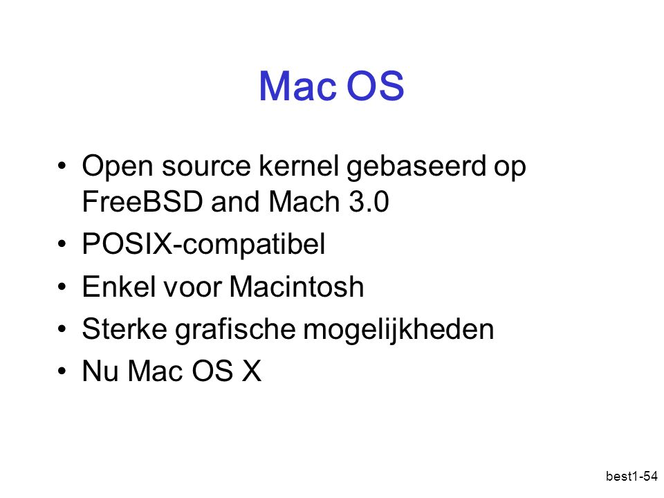 Mac OS Open source kernel gebaseerd op FreeBSD and Mach 3.0