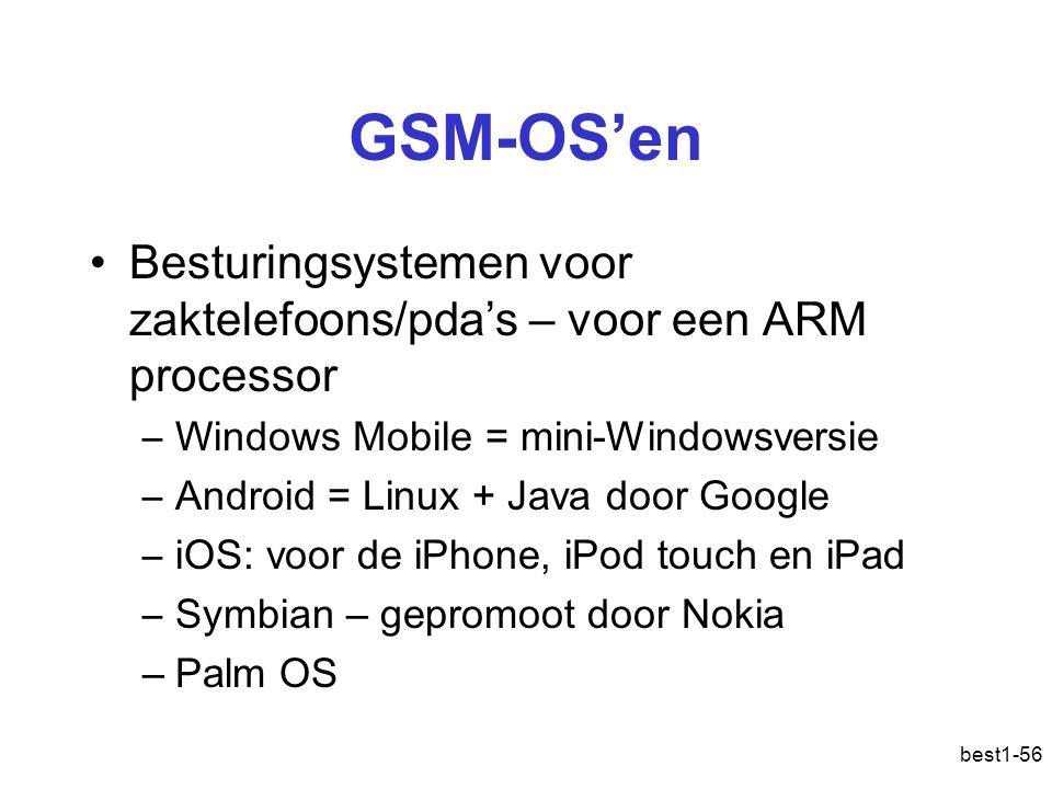 GSM-OS'en Besturingsystemen voor zaktelefoons/pda's – voor een ARM processor. Windows Mobile = mini-Windowsversie.