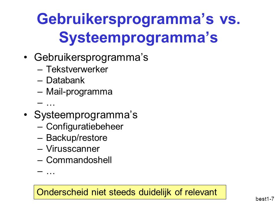 Gebruikersprogramma's vs. Systeemprogramma's