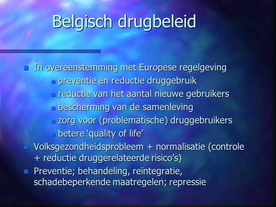 Belgisch drugbeleid In overeenstemming met Europese regelgeving