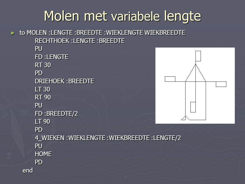 Molen met variabele lengte
