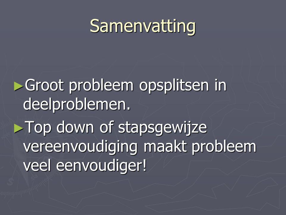 Samenvatting Groot probleem opsplitsen in deelproblemen.