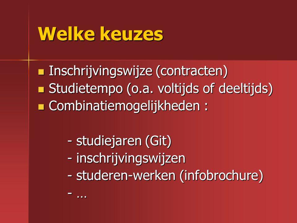 Welke keuzes Inschrijvingswijze (contracten)