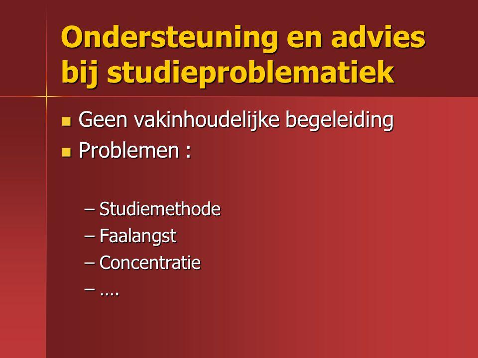 Ondersteuning en advies bij studieproblematiek