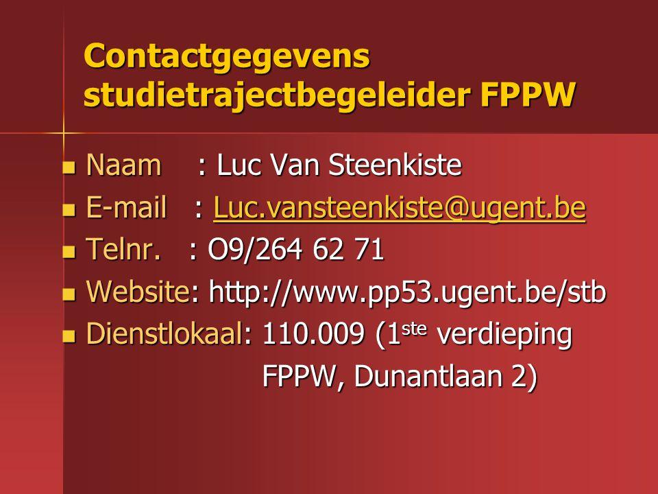 Contactgegevens studietrajectbegeleider FPPW