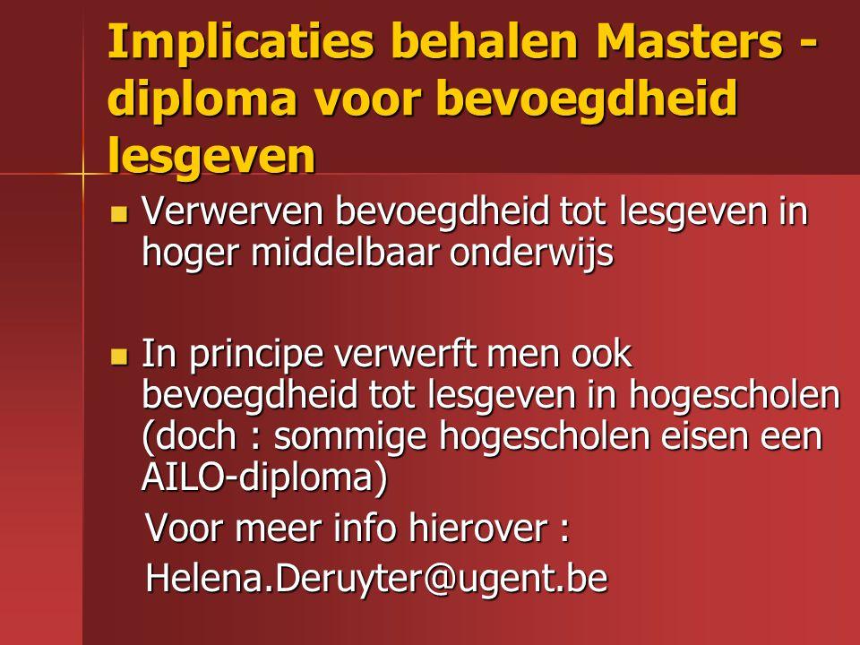 Implicaties behalen Masters -diploma voor bevoegdheid lesgeven