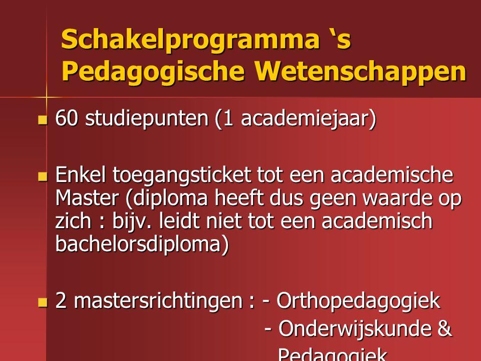 Schakelprogramma 's Pedagogische Wetenschappen