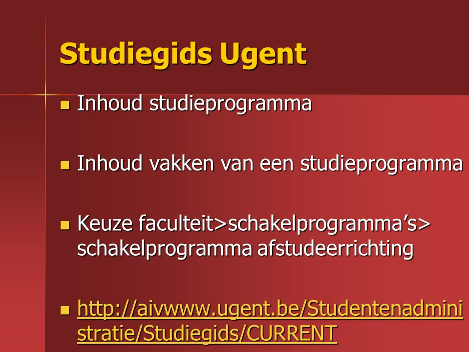 Studiegids Ugent Inhoud studieprogramma
