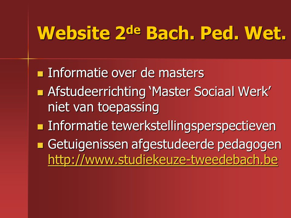 Website 2de Bach. Ped. Wet. Informatie over de masters