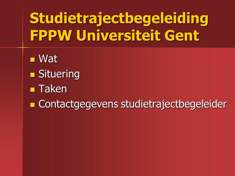 Studietrajectbegeleiding FPPW Universiteit Gent