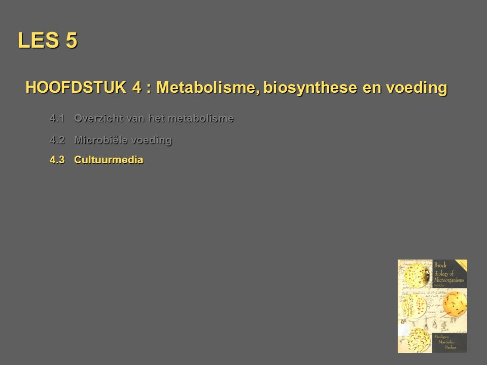 LES 5 HOOFDSTUK 4 : Metabolisme, biosynthese en voeding