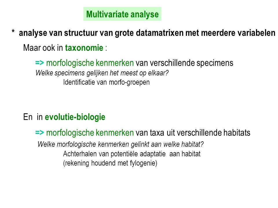 * analyse van structuur van grote datamatrixen met meerdere variabelen