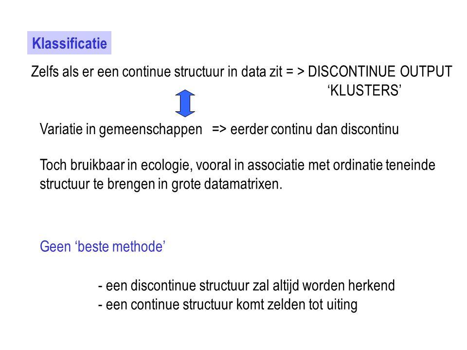 Klassificatie Zelfs als er een continue structuur in data zit = > DISCONTINUE OUTPUT. 'KLUSTERS'
