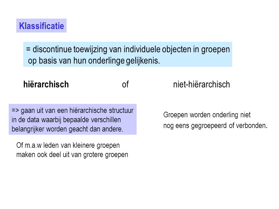 = discontinue toewijzing van individuele objecten in groepen
