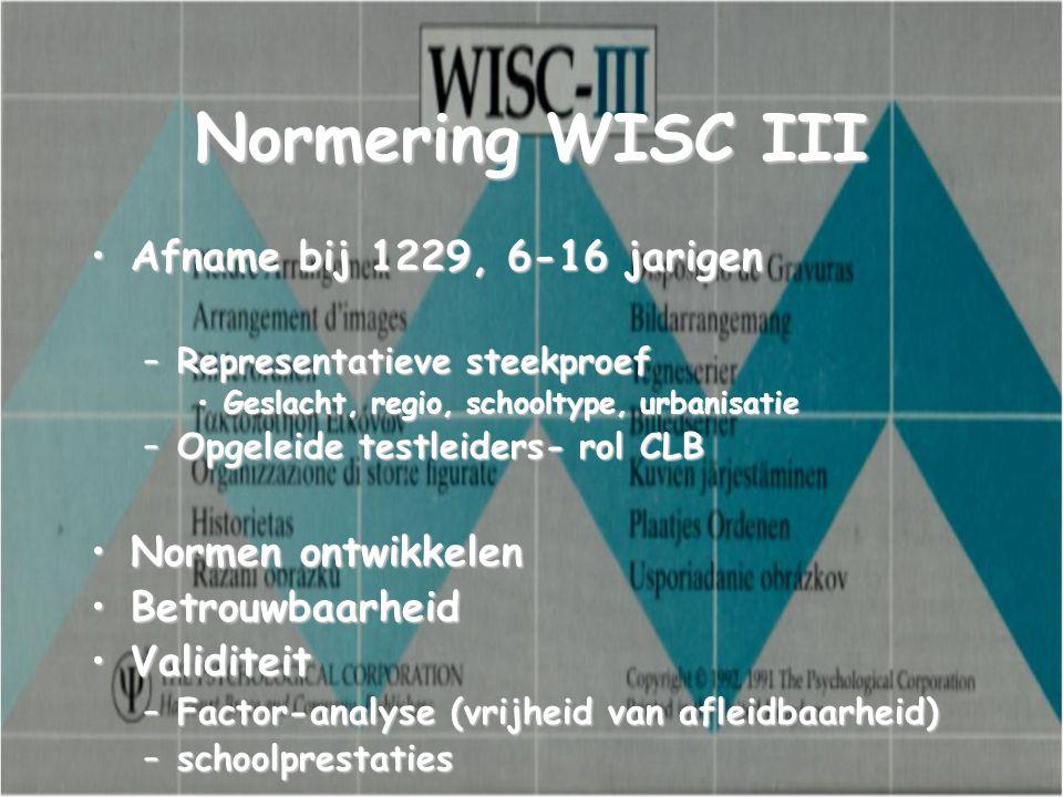 Normering WISC III Afname bij 1229, 6-16 jarigen Normen ontwikkelen