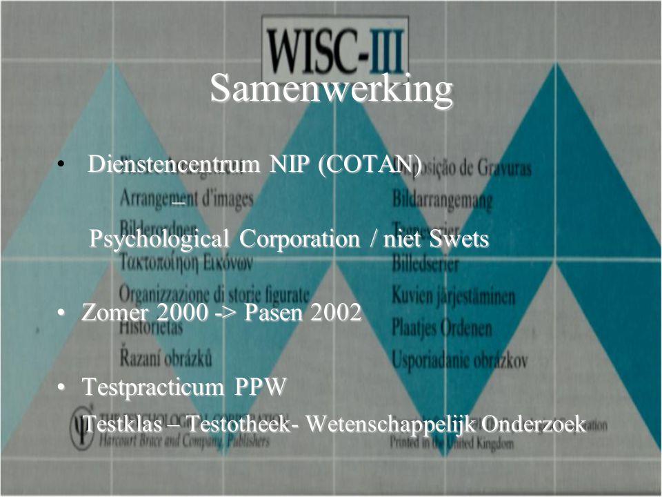 Samenwerking Dienstencentrum NIP (COTAN) –