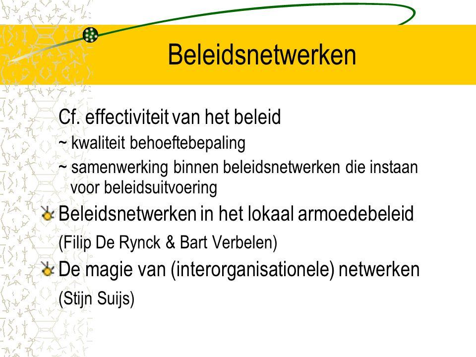 Beleidsnetwerken Cf. effectiviteit van het beleid