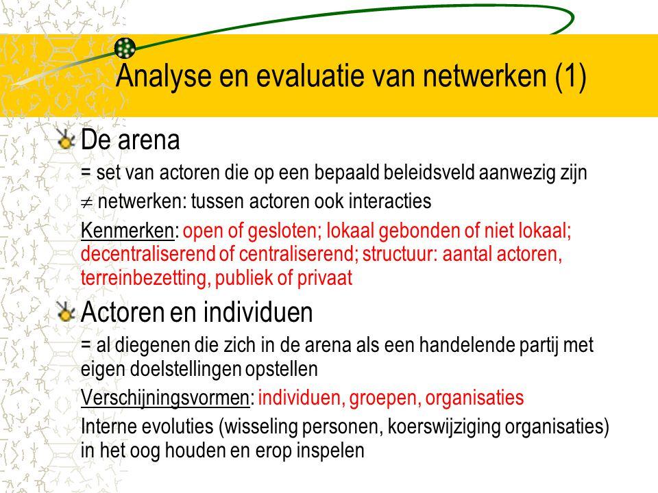 Analyse en evaluatie van netwerken (1)