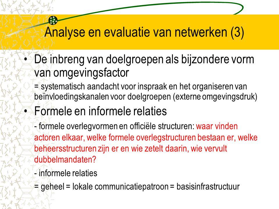 Analyse en evaluatie van netwerken (3)