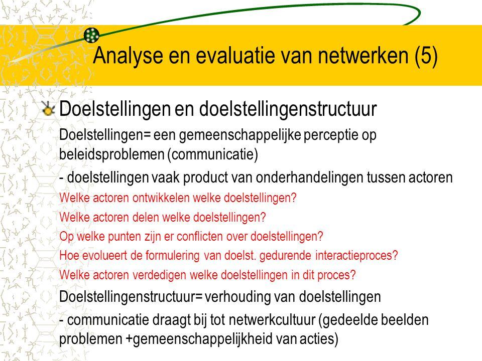 Analyse en evaluatie van netwerken (5)